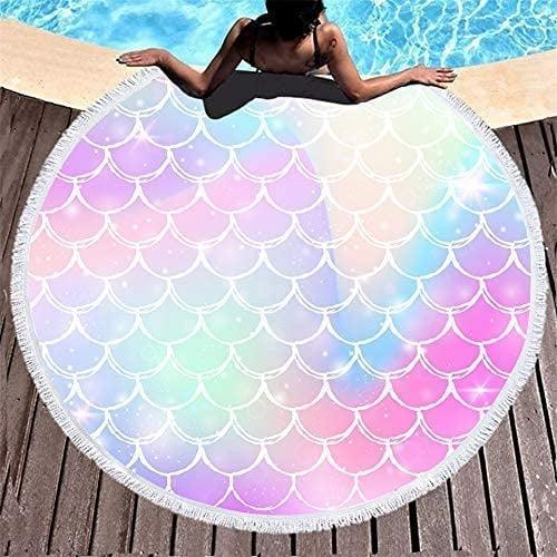 <p>Channel your inner mermaid with the gorgeous <span>Quick Dry Microfiber Mermaid Scales Round Beach Towel</span> ($22).</p>