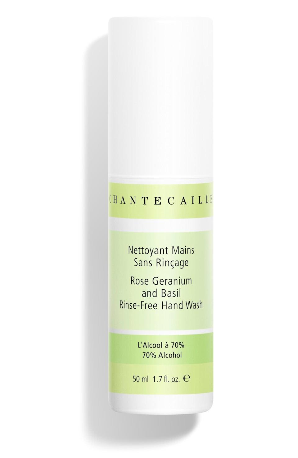 <p>This <span>Chantecaille Rose Geranium and Basil Hand Sanitizer</span> ($14) smells delicious, and got us through a recent trip clean and protected.</p>