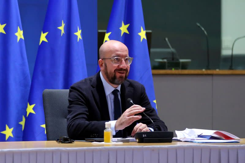 FILE PHOTO: EU Council President Charles Michel attends a video conference with representatives of member states, in Brussels
