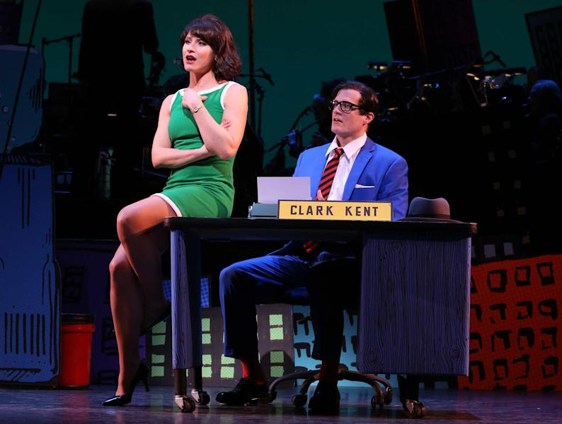 """This undated image released by Helene Davis Public Relations shows Jenny Powers as Lois Lane, left, and Edward Watts as Clark kent in Encore's """"It's A Bird It's A Plane It's Superman,"""" performing through March 24 at New York City Center in New York. (AP Photo/Helene Davis Public Relations, Joan Marcus)"""