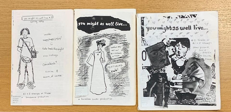 """A selection of the zine """"You Might as Well Live"""" by Lauren Jade Martin is laid out at Barnard Zine Library."""