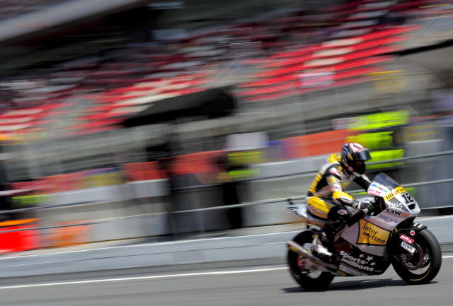 Interwetten Paddock's Swiss Thomas Luthi leaves the pits during the Catalunya racetrack in Montmelo, near Barcelona, on June 1, 2012, during the Moto2 second training session of the Catalunya Moto GP Grand Prix. AFP PHOTO / JOSEP LAGOJOSEP LAGO/AFP/GettyImages