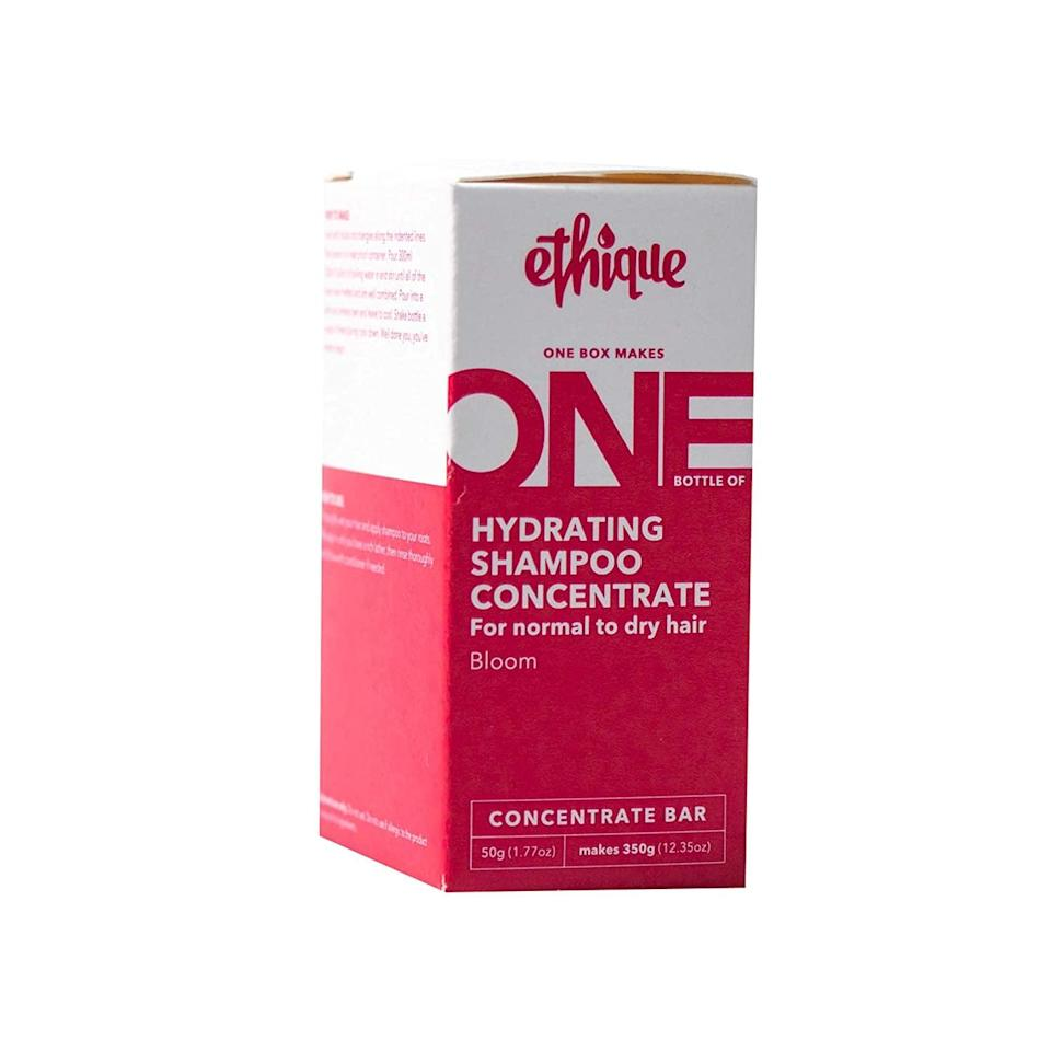 """<p>The <span>Ethique Hydrating Shampoo Concentrate Bar for Normal to Dry Hair</span> ($10) is an <a href=""""https://www.popsugar.com/beauty/beauty-awards-best-conscious-products-2021-48277687"""" class=""""link rapid-noclick-resp"""" rel=""""nofollow noopener"""" target=""""_blank"""" data-ylk=""""slk:April POPSUGAR Beauty Award-winner"""">April POPSUGAR Beauty Award-winner</a> that helps you channel your inner scientist when you use it. All you have to do is mix the block with hot water to get a liquid shampoo that'll moisturize and soften your hair with ingredients like cocoa butter and coconut oil.</p>"""