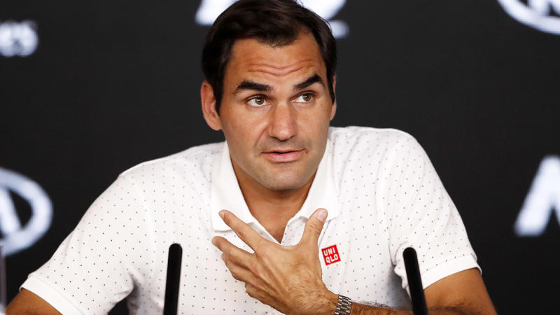 Roger Federer, pictured here speaking to the media at the Australian Open.
