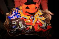 """<p>Chocolate candy—in any variety—is America's favorite Halloween candy. Almost 75 percent of all the candy consumed this year is some form of chocolate. Reese's and M&M's are two of the most popular Halloween candies, according to <a href=""""http://www.usatoday.com/story/money/business/2013/10/27/most-popular-halloween-candy-in-usa/3274967/"""" rel=""""nofollow noopener"""" target=""""_blank"""" data-ylk=""""slk:USA Today"""" class=""""link rapid-noclick-resp""""><em>USA Today</em></a>. </p>"""