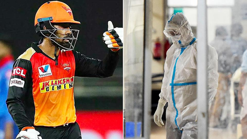 Pictured here, Sunrisers Hyderabad's Wriddhiman Saha and a medical staffer wearing PPE in India.