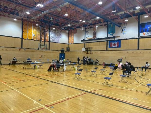 A pop-up vaccination clinic at Sir John Franklin High School May 19. The school was one of several in Yellowknife to offer the Pfizer-BioNTech vaccine to students ages 12-17.  (John Van Dusen/CBC - image credit)