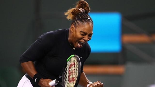 Serena Williams prevailed against former world number one Victoria Azarenka 7-5 6-3 in an Indian Wells classic.