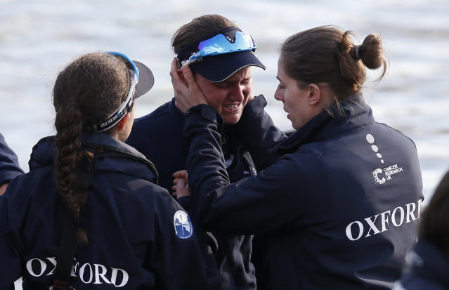 Britain Rowing - 2017 Oxford v Cambridge University Boat Race - River Thames, London - 2/4/17 Oxford womens team members dejected after the womens boat race Action Images via Reuters / Paul Childs Livepic