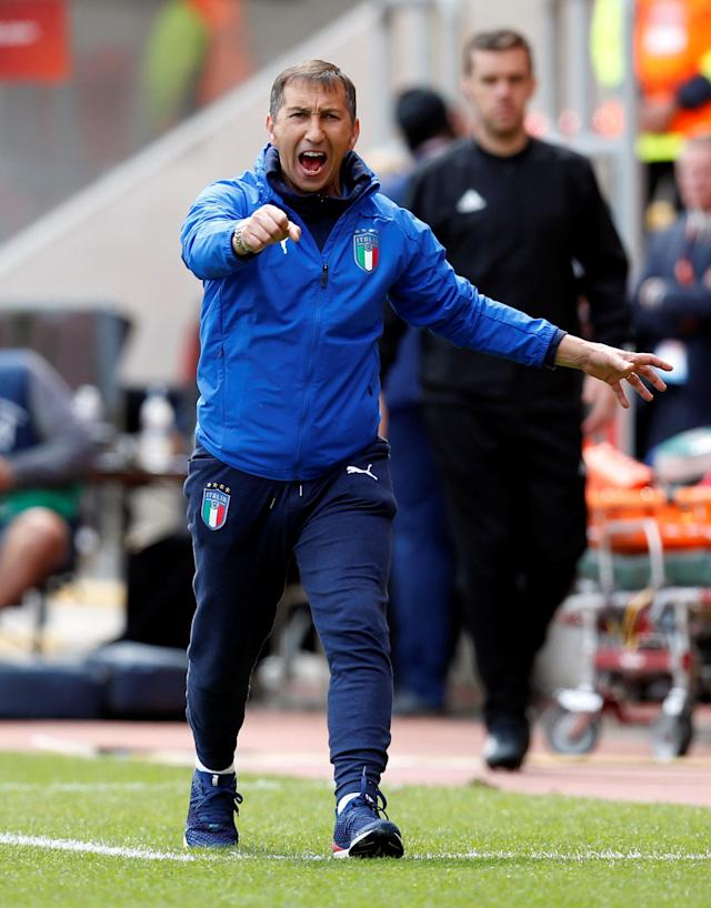 Soccer Football - UEFA European Under-17 Championship Semi-Final - Italy vs Belgium - AESSEAL New York Stadium, Rotherham, Britain - May 17, 2018 Italy coach Carmine Nunziata Action Images via Reuters/Ed Sykes