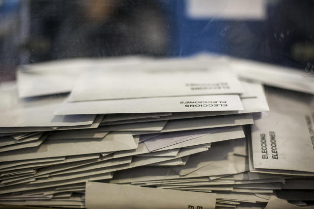<p>Ballot papers in an urn in Barcelona, Spain, Dec. 21, 2017.<br>(Photograph by Jose Colon / MeMo for Yahoo News) </p>