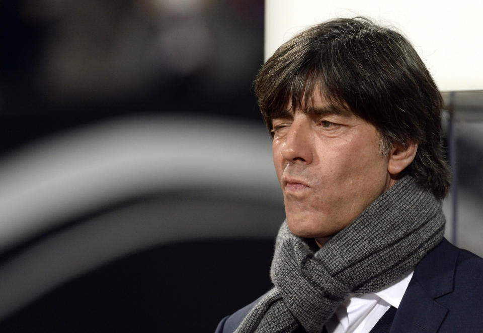 Germany coach Joachim Loew was left fuming as the world champions laboured again in their 4-0 win over minnows Gibraltar to finish 2014 third in their Euro 2016 qualifying group (AFP Photo/Christof Stache)