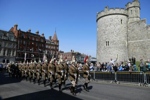 Members of the Household Cavalry take part in a rehearsal for the wedding procession outside Windsor Castle