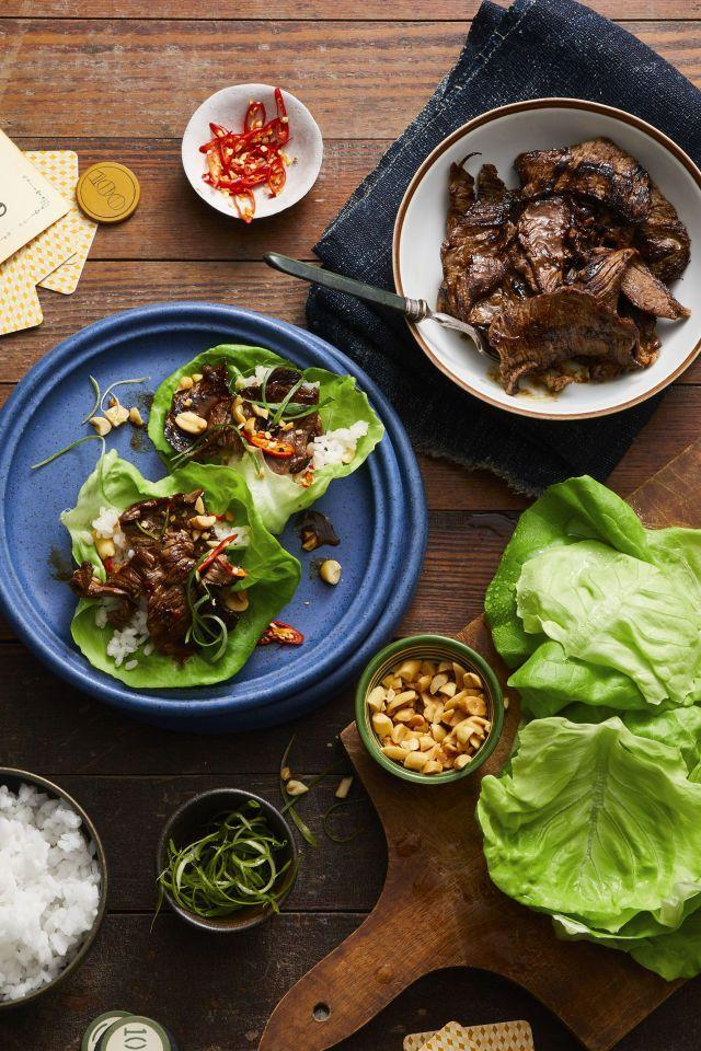 """<p>What's not to love about caramelized beef wrapped in a crunchy piece of lettuce and topped with chilies and peanuts? Nothing, that's what. </p><p><a href=""""https://www.goodhousekeeping.com/food-recipes/easy/a47669/korean-pineapple-beef-lettuce-wraps-recipe/"""" rel=""""nofollow noopener"""" target=""""_blank"""" data-ylk=""""slk:Get the recipe for Korean Pineapple Beef Lettuce Wraps »"""" class=""""link rapid-noclick-resp""""><em>Get the recipe for Korean Pineapple Beef Lettuce Wraps » </em></a></p>"""