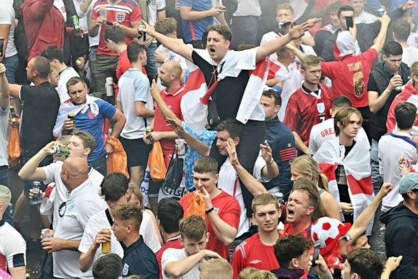 PHOTO: Fans gather in Leicester Square, central London ahead of the UEFA EURO 2020 final football match between England and Italy on July 11, 2021. (Justin Tallis/AFP via Getty Images)