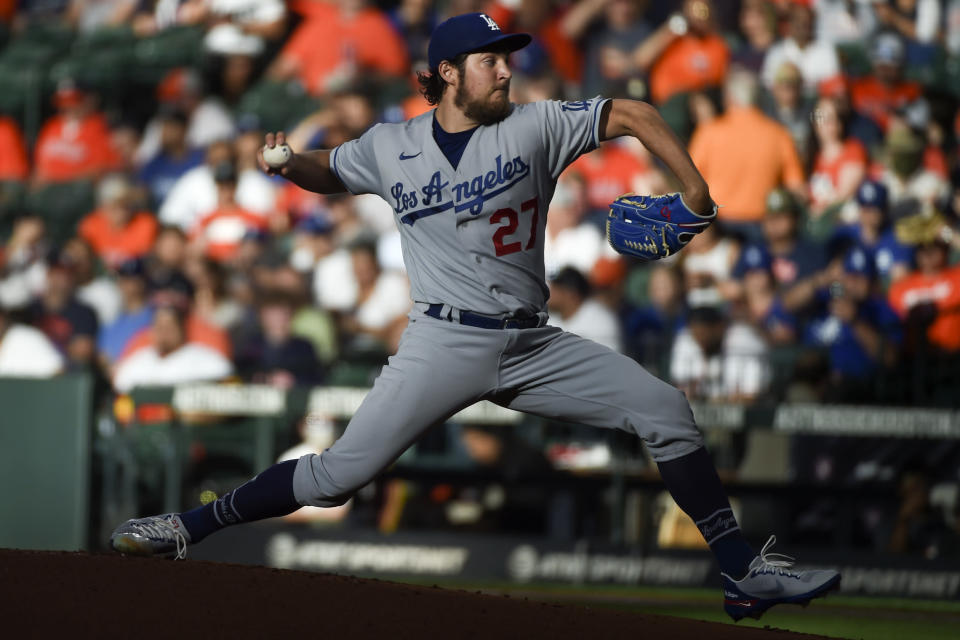 Los Angeles Dodgers starting pitcher Trevor Bauer delivers during the first inning of a baseball game against the Houston Astros, Wednesday, May 26, 2021, in Houston. (AP Photo/Eric Christian Smith)