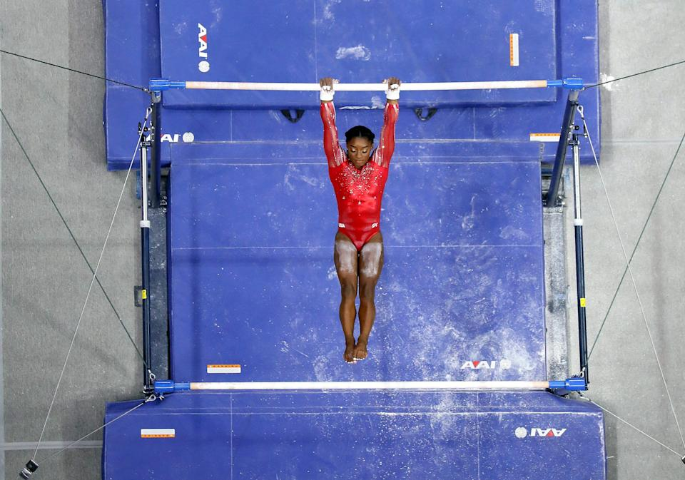Simone Biles competes on the uneven bars during the 2021 U.S. Gymnastics Olympic Trials at America's Center on June 27, 2021, in St Louis, Missouri.