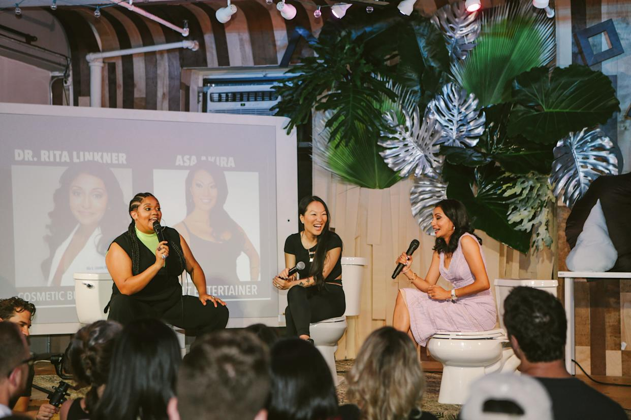 """Asa Akira, an adult performer, and cosmetic surgeon Rita Linkner at a workshop called """"The Obsession With The Ass."""" (Photo: Credit: Tushy)"""