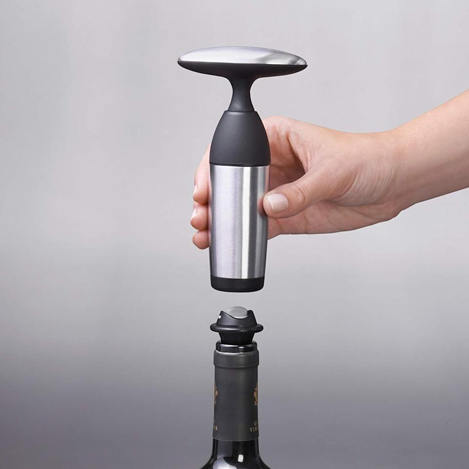 OXO SteeL Vacuum Wine Saver and Preserver with Two Stoppers (Photo: Amazon)