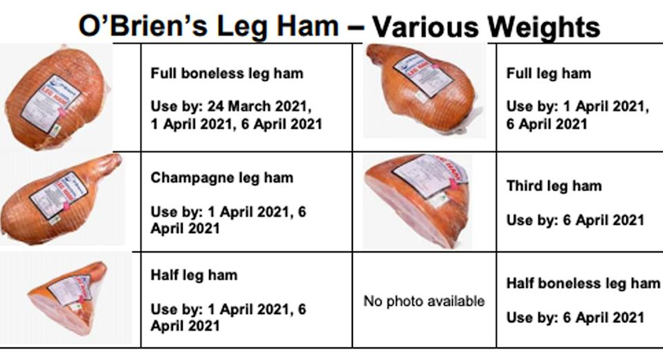 O'Brien's Leg Ham sold at IGA and various butchers varieties have been recalled
