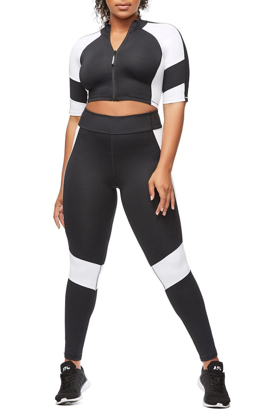 "<p>This classic black-and-white color-block two-piece is sporty and chic at the same time.<br><a href=""https://fave.co/2AuIDR9"" rel=""nofollow noopener"" target=""_blank"" data-ylk=""slk:Shop it:"" class=""link rapid-noclick-resp""><strong>Shop it:</strong> </a>The Dual Life Crop Top, $89 (take 25% off with code EXTRA25), <a href=""https://fave.co/2AuIDR9"" rel=""nofollow noopener"" target=""_blank"" data-ylk=""slk:goodamerican.com"" class=""link rapid-noclick-resp"">goodamerican.com</a><br><a href=""https://fave.co/2AuIGfN"" rel=""nofollow noopener"" target=""_blank"" data-ylk=""slk:Shop it:"" class=""link rapid-noclick-resp""><strong>Shop it:</strong> </a>The Dual Life Legging, $129 (take 25% off with code EXTRA25), <a href=""https://fave.co/2AuIGfN"" rel=""nofollow noopener"" target=""_blank"" data-ylk=""slk:goodamerican.com"" class=""link rapid-noclick-resp"">goodamerican.com</a> </p>"