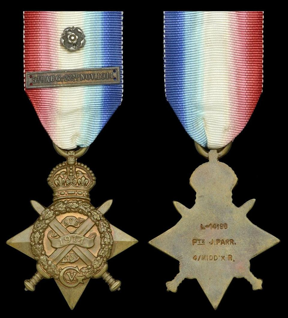 The medal won by the first British soldier to be killed in action during the First World War (Dix, Noonan, Webb/PA) (PA Media)