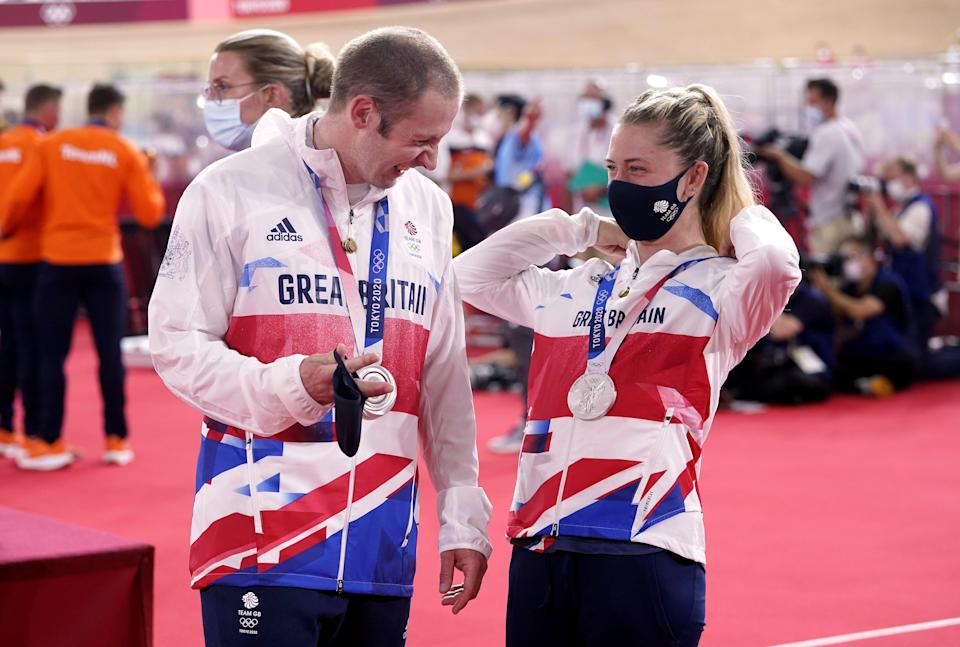 Great Britain's Laura Kenny and Jason Kenny with their silver medals at the Izu Velodrome (Danny Lawson/PA) (PA Wire)