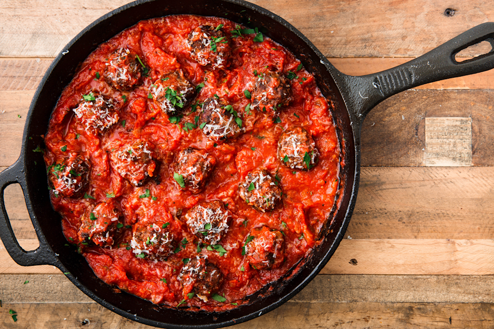 """<p>Extra cheese holds these tender meatballs together perfectly without any type of flour. A breeze to whip up makes these the perfect weeknight dinner for everyone.</p><p>Get the <a href=""""https://www.delish.com/uk/cooking/recipes/a30131943/keto-meatballs-recipe/"""" rel=""""nofollow noopener"""" target=""""_blank"""" data-ylk=""""slk:Keto Meatballs"""" class=""""link rapid-noclick-resp"""">Keto Meatballs</a> recipe. </p>"""