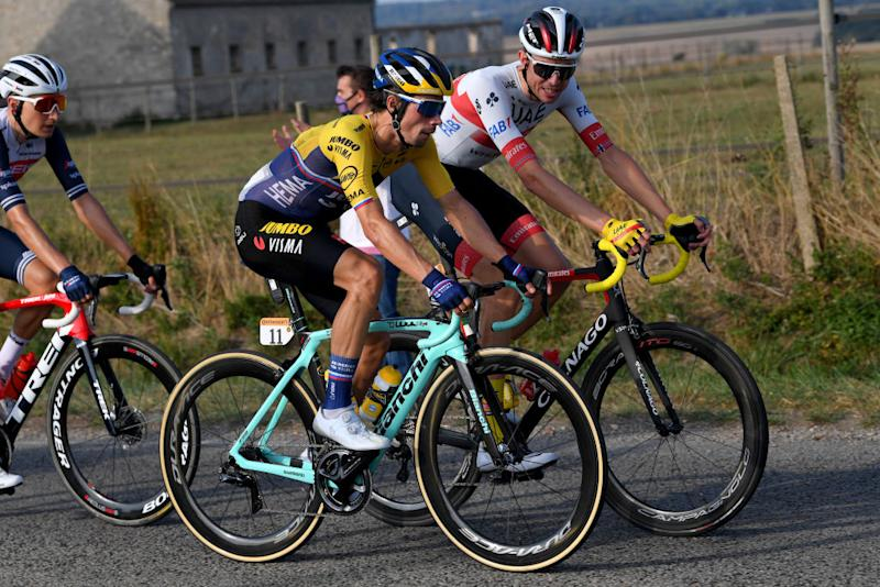 PARIS FRANCE SEPTEMBER 20 Primoz Roglic of Slovenia and Team Jumbo Visma Vegard Stake Laengen of Norway and UAE Team Emirates during the 107th Tour de France 2020 Stage 21 a 122km stage from MantesLaJolie to Paris Champslyses TDF2020 LeTour on September 20 2020 in Paris France Photo by Tim de WaeleGetty Images