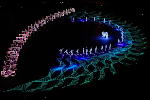 <p>Entertainers perform during the Beijing segment during the Closing Ceremony of the PyeongChang 2018 Winter Olympic Games at PyeongChang Olympic Stadium on February 25, 2018 in Pyeongchang-gun, South Korea. (Photo by David Ramos/Getty Images) </p>