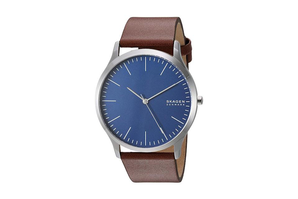 "$115, Amazon. <a href=""https://www.amazon.com/Skagen-Quartz-Stainless-Steel-leather/dp/B07SX5W698?ref_=ast_sto_dp&th=1"" rel=""nofollow noopener"" target=""_blank"" data-ylk=""slk:Get it now!"" class=""link rapid-noclick-resp"">Get it now!</a>"