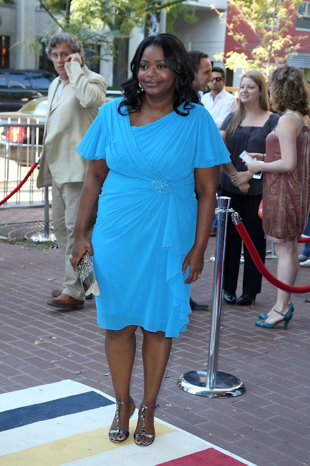 """BEST: Oscar winner Octavia Spencer looks awesome in this sky-blue dress at the premiere of """"Smashed."""" The colour is great on her, and we love the draping of the fabric. Well played, Octavia!"""