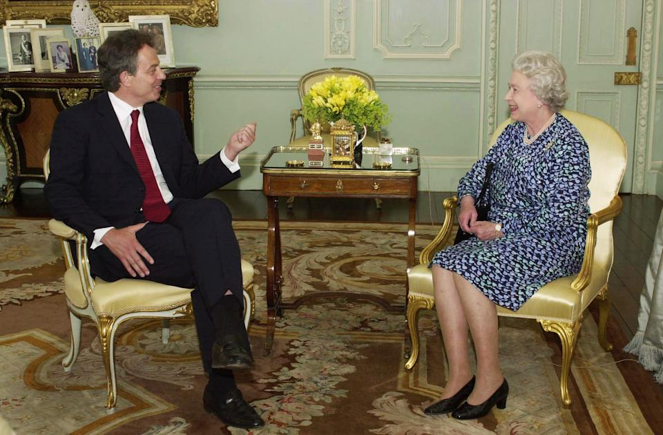 """TV viewers will this week get this rare glimse of the Britain's Queen Elizabeth II giving an audience at Buckingham Palace to Prime Minister Tony Blair.     *  The footage will be featured on Thursday evening at 9pm in BBC1's fourth and  final part of """"Queen and Country"""" by William Shawcross. The programme, marking the Queen's Golden Jubilee, explores her relationship with prime ministers during her 50-year reign.  Tony Blair is the tenth Prime Minister of her reign - and was born while she was on the throne. Note to eds: Picture taken June 2001, released May 20, 2002."""