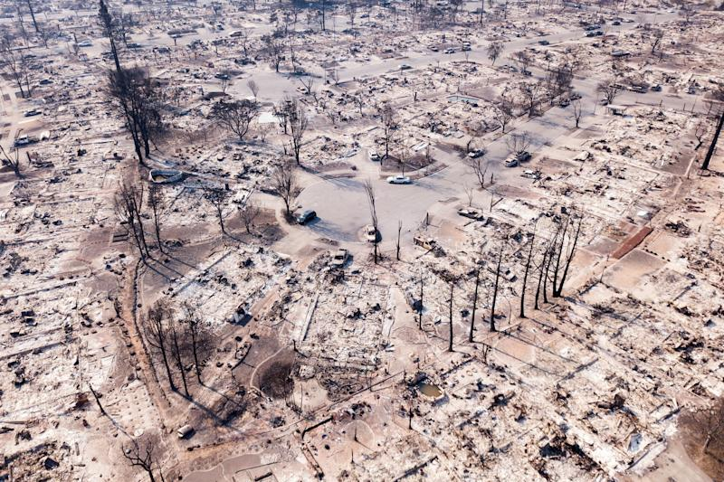 Fire damage is seen from the air in the Coffey Park neighborhood.