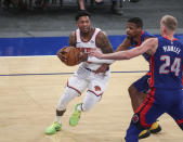 New York Knicks guard Elfrid Payton (6) drives to the basket during the third quarter against the Detroit Pistons in an NBA basketball game Thursday, March 4, 2021, in New York. (Wendell Cruz/Pool Photo via AP)