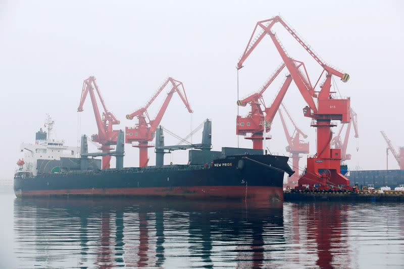 A bulk carrier is seen at Qingdao Port Shandong province