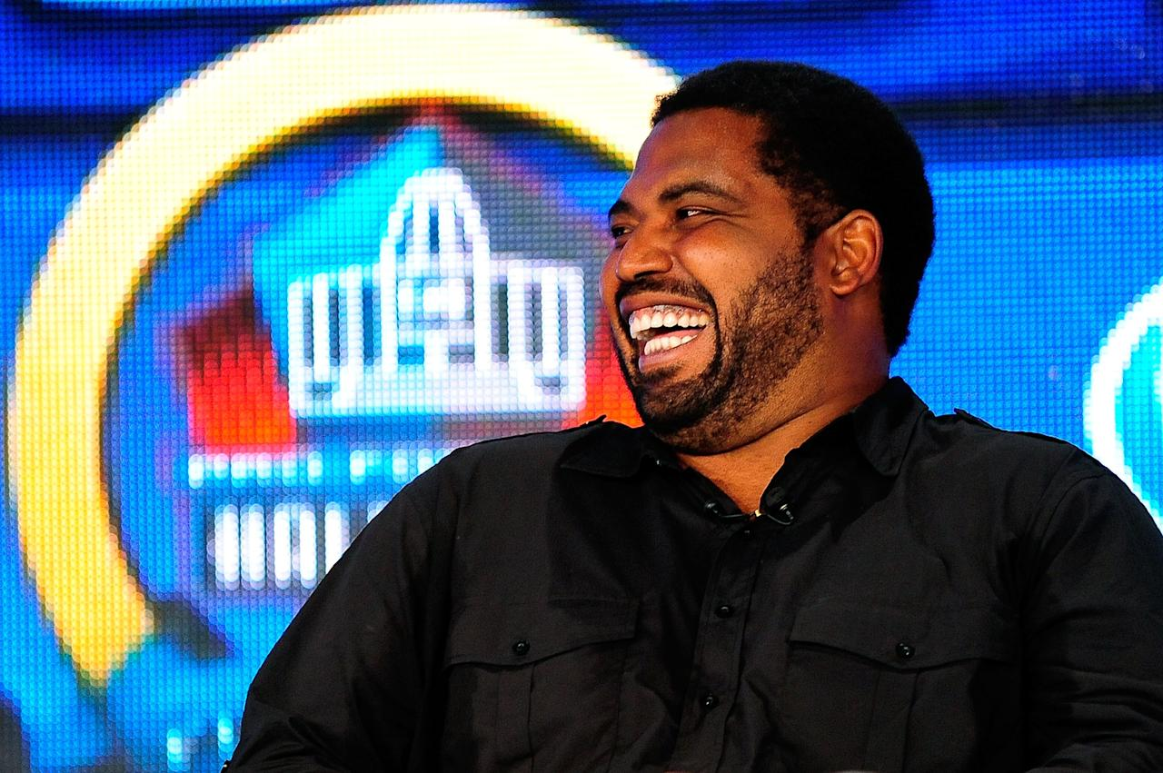 NEW ORLEANS, LA - FEBRUARY 02:  Former NFL player Jonathan Ogden enjoys a light moment after being elected into the Pro Football Hall of Fame during the Pro Football Hall of Fame Press Conference at the New Orleans Convention Center on February 2, 2013 in New Orleans, Louisiana.  (Photo by Stacy Revere/Getty Images)