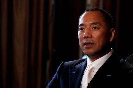 FILE PHOTO: Billionaire businessman Guo Wengui speaks during an interview in New York