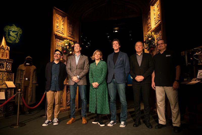 Eduardo Lima (MinaLima Design), Oliver Phelps, Miraphora Mina (MinaLima Design), James Phelps, Álvaro Covões (Everything is New) and Frank Torres (GES Events) at Harry Potter™: The Exhibition at the Pavilion of Portugal in Lisbon, Portugal