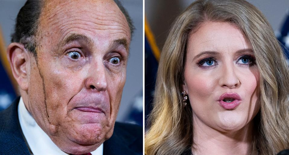 Rudy Giuliani and Jenna Ellis pictured speaking at a press conference.