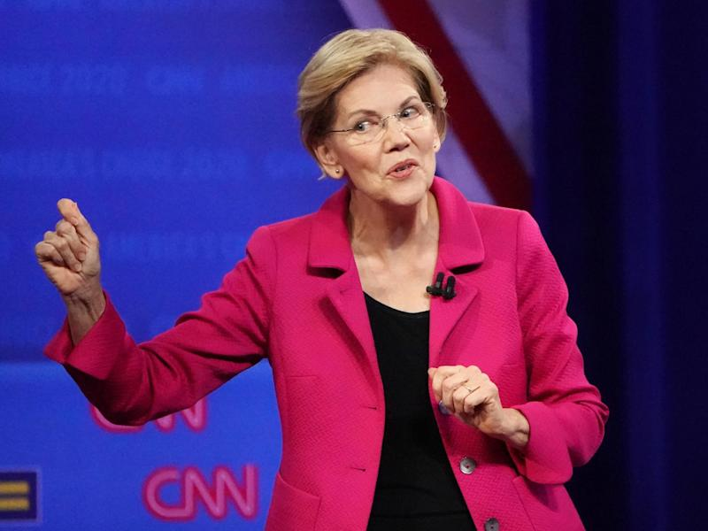 Elizabeth Warren has taken out a Facebook advert publishing a lie about Mark Zuckerberg to highlight how the company's policy allows political misinformation to spread: Mario Tama/Getty Images