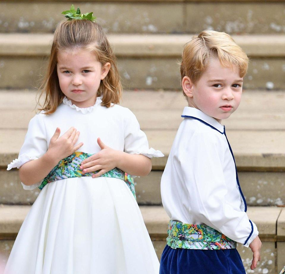 "<p>George and Charlotte look ready to perform their wedding duties as a page boy and girl at <a href=""https://www.harpersbazaar.com/princess-eugenie-jack-brooksbank-royal-wedding/"" rel=""nofollow noopener"" target=""_blank"" data-ylk=""slk:Princess Eugenie's wedding"" class=""link rapid-noclick-resp"">Princess Eugenie's wedding</a>. </p>"