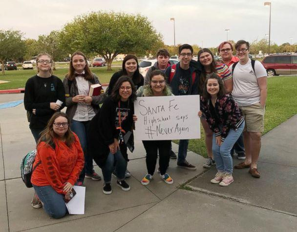 PHOTO: Students at Santa Fe High School participated in a nationwide school walkout against school gun violence, April 20, 2018. (mukethemusical/Twitter)