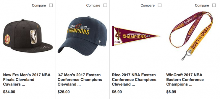 6da4613482c85 Cavaliers-branded  Eastern Conference champions  gear went on sale ...
