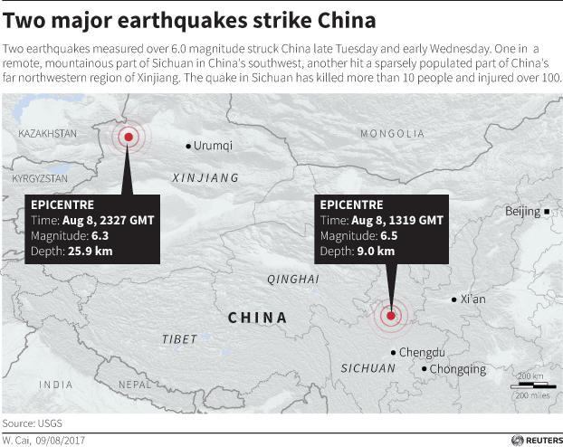 <p>Map showing location of two major earthquakes in China on Aug. 8, 2017. (Reuters) </p>
