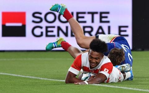 Matsushima scores his third try for Japan against Russia - Credit: GETTY IMAGES