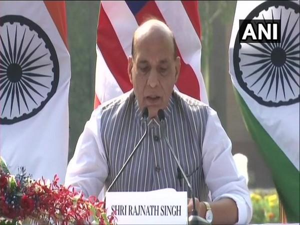 Defence Minister Rajnath Singh speaking at the press conference after 2+2 Ministerial Dialogue. Photo/ANI