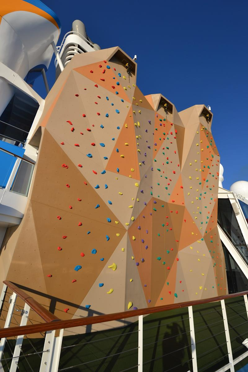 Access to rock-climbing walls like the one on Royal Caribbean's Anthem of the Seas is usually free.