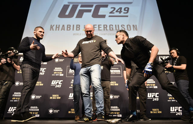 Khabib Nurmagomedov and Tony Ferguson face off during the UFC 249 press conference at T-Mobile Arena on March 6, 2020 in Las Vegas. (Photo by Chris Unger/Zuffa LLC)