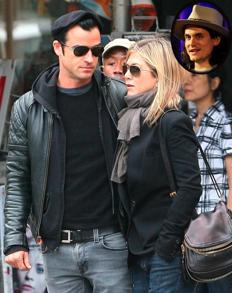 """As Jennifer Aniston's relationship with Justin Theroux cools, she and John Mayer are """"rekindling"""" their former romance, reveals <i>OK!</i> The mag notes that after Aniston listened to Mayer's new song about her, """"memories from her days with John came flooding back,"""" and the two are now exchanging """"flirty texts."""" For whether they'll get back together, click over to <a target=""""_blank"""" href=""""http://www.gossipcop.com/jennifer-aniston-john-mayer-reuniting-rekindling-shadow-days-song-texting/"""">Gossip Cop</a>."""